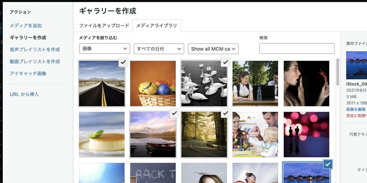 WordPress 編集フォーム › ギャラリー画像を選択