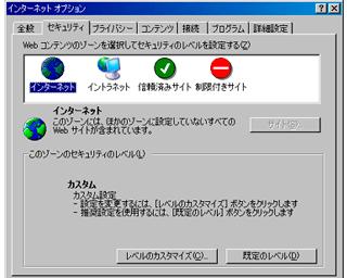 Internet Explorer 6 › インターネットオプション › レベルのカスタマイズ