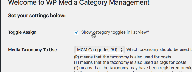 WordPress 'WP Media Category Management' 「Toggle Assign」の項目のチェックボックス
